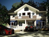Bonito diseño de casa 3D de 2 pisos con autos deportivos estacionados
