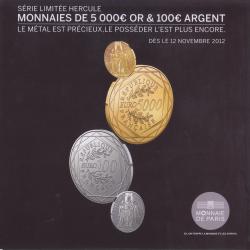 dépliant pièces de 5000 euros en or et 100 euros en argent