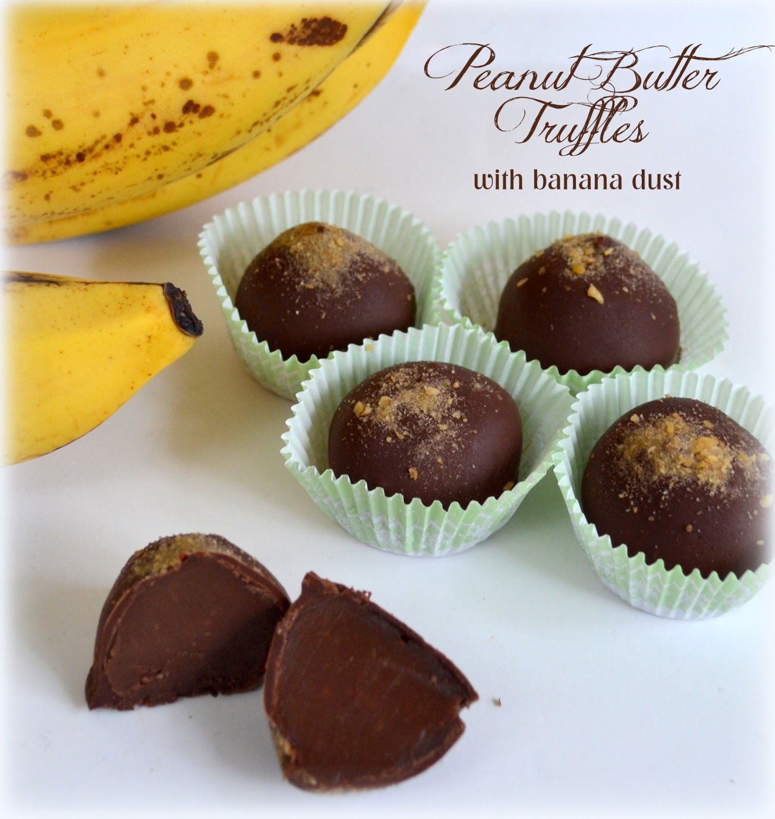 ... Milk Chocolate & Peanut Butter Truffles (garnished with Banana Dust
