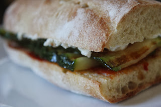 Grilled zucchini sandwich on vegetable demi-baguette
