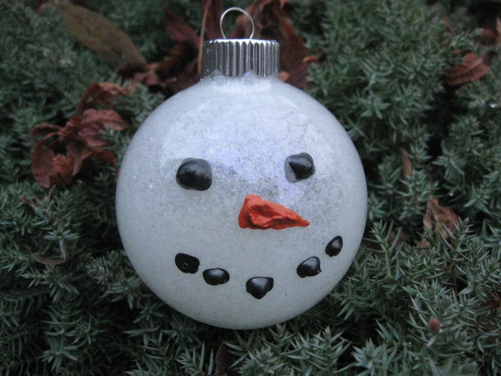 Craft klatch snowman glitter ball ornament tutorial