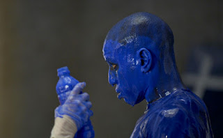 Guy in blue paint