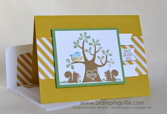 Stampingville: Simple masculine anniversary card with Stampin' Up! Nuts About You stamp set.