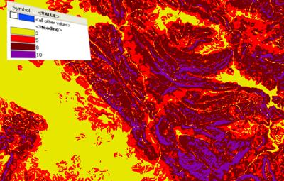 Mapa de peligrosidad por influencia de la pendiente.
