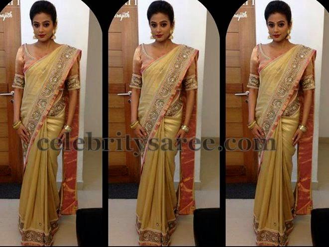 Priyamani Gold Shimmer Saree