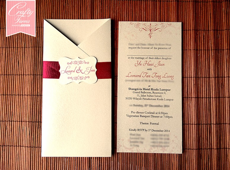 Elegant Red Vintage Pocket Wedding Card Malaysia