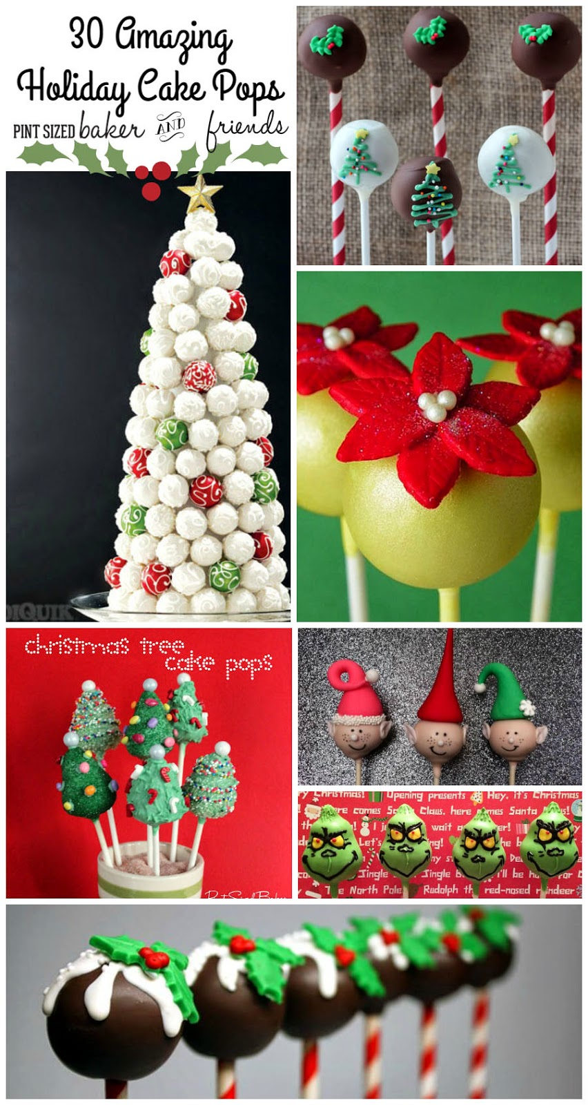 Collection of 30 Christmas and holiday Cake Pops.