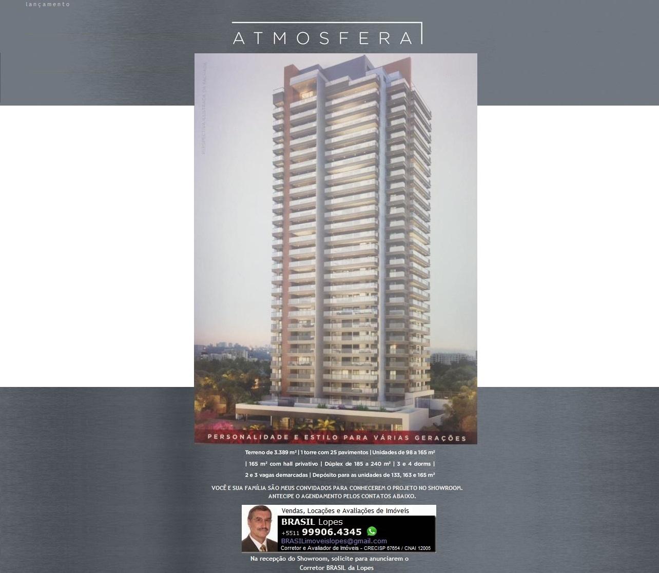 ATMOSFERA Bosque da Saúde - Apartamentos de 98 a 165m² com padrão Cyrela.