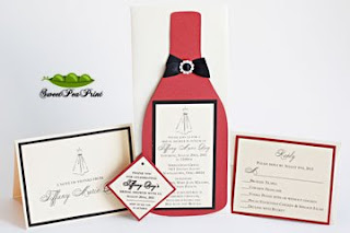 tiffany wine themed bridal shower invites custom diecut wine bottle invitation crimson red card stock ivory card stock with rhinestone buckle