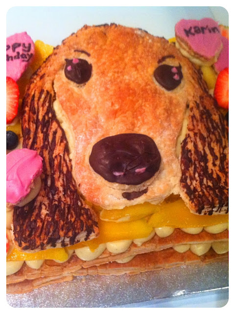 Cherie Kelly's Mango Millefeuilles (Napoleons) with puppy RoyRoy's face
