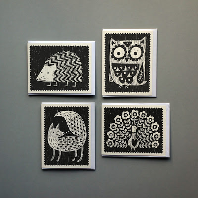 Owl, Fox, Hedgehog and Peacock silk-screened greetings