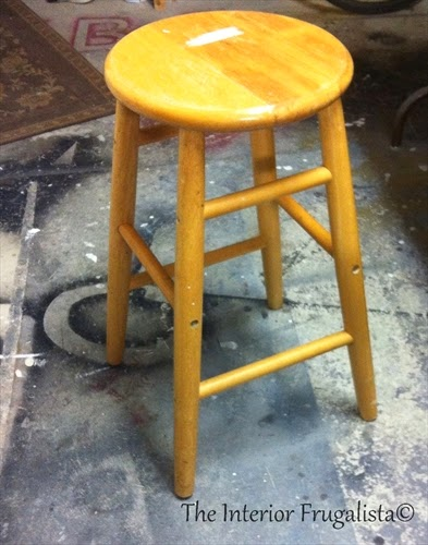Mom's stool before it received a makeover