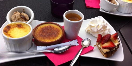 Café Gourmand in Cannes: Creme brulée, creme caramel, ice cream, strawberry tart & coffee