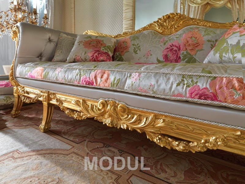 Italian gold sofa with a floral upholstery