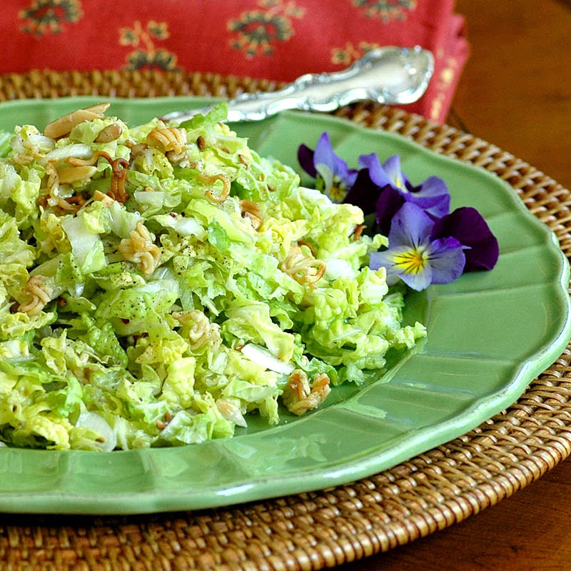 Napa Cabbage Salad with Almonds and Noodles