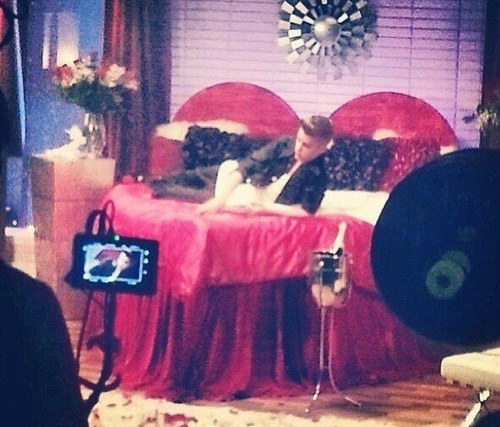 Justin Bieber Rehearsal on a Red Bed