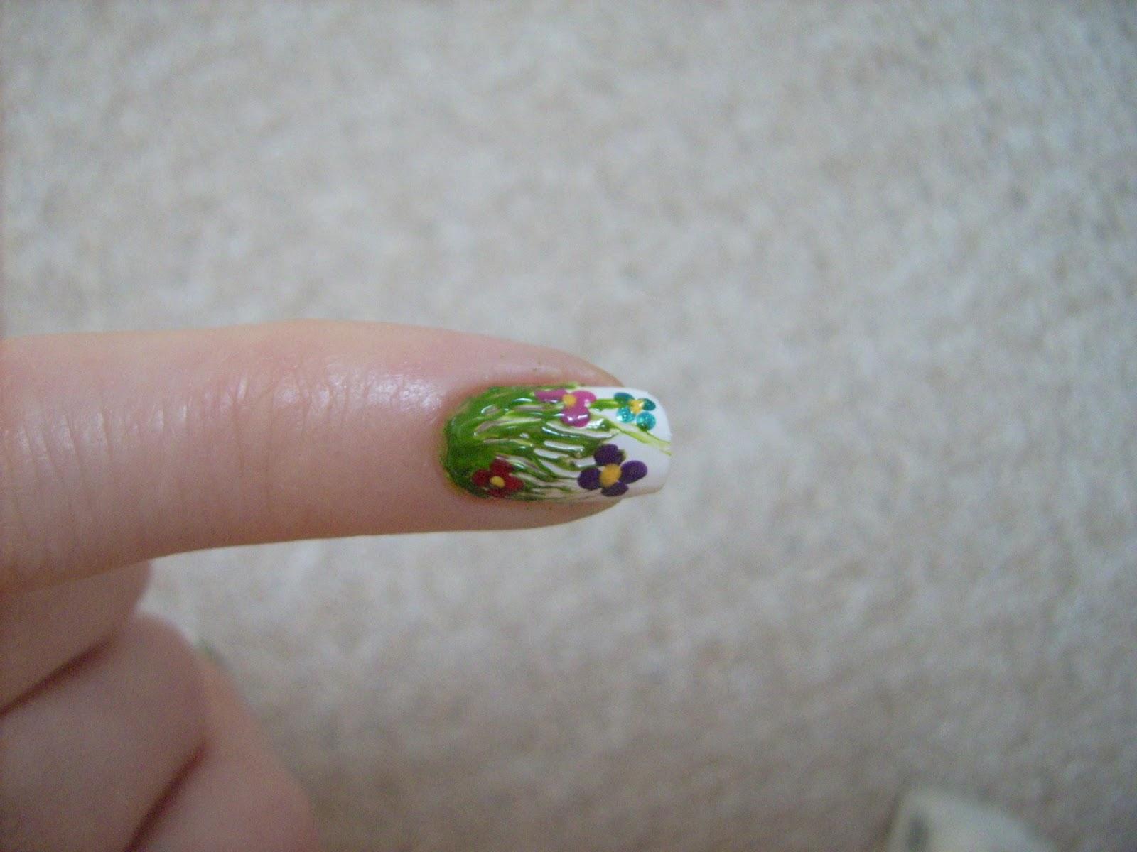 flower nail art, flower grass nail art