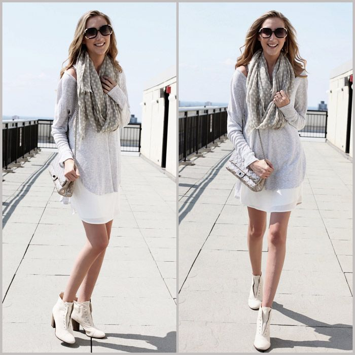 White dotted scarf, long loose shirt, white skirt and high heel boots
