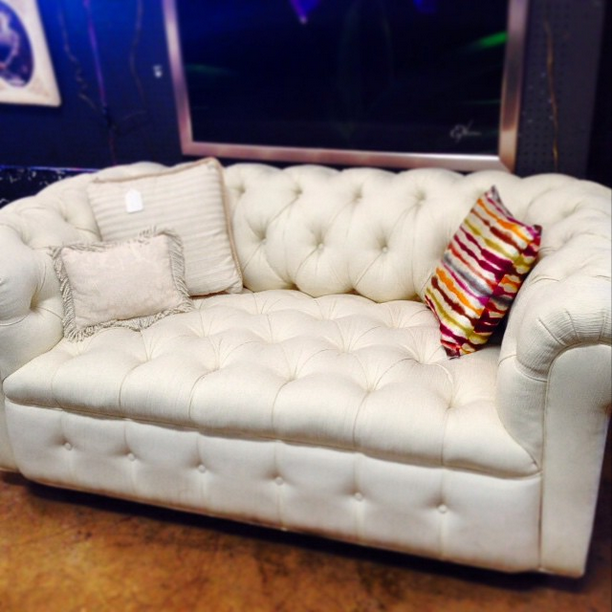 #thriftscorethursday Week 57 | Instagram user: stephlovesdesign shows off this White Tufted Sofa