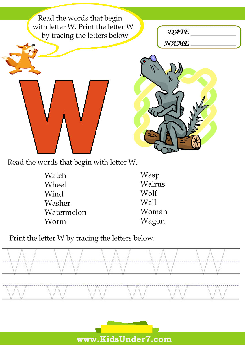 Kids Under 7: Alphabet worksheets.Trace and Print Letter W