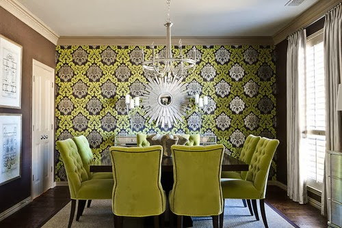 green dining room wallpaper design - photo #18