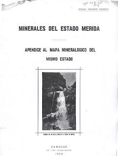 Minerales del Edo. Mérida 1926