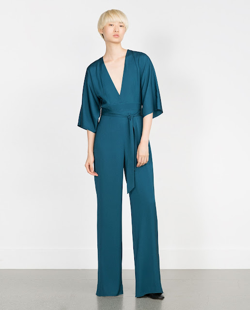 zara studio jumpsuit, v neck blue jumpsuit,