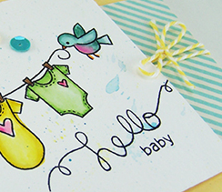 Curtain Call Sneak Peek Baby card by Newton's Nook Designs - Winged Wishes
