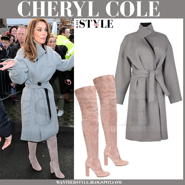 Cheryl Cole in grey wool belted issa robbie coat and beige suede gianvito rossi boots what she wore winter fashion