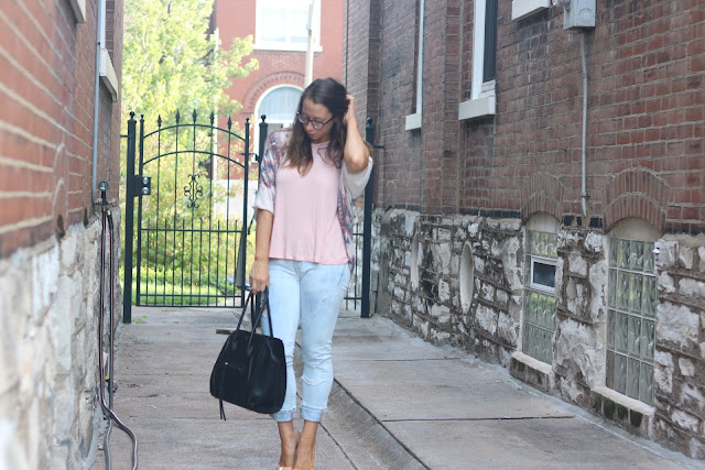 pink swing tank free people aztec slouchy sweater pilcro jeans louboutin so kate nude celine trapeze grainy leather black warby parker glasses style blogger personal post