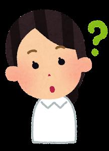 ナースキャップのない女性看護師のイラスト「疑問」