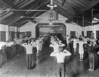 Boys exercising at Hiawatha Playfield, 1911