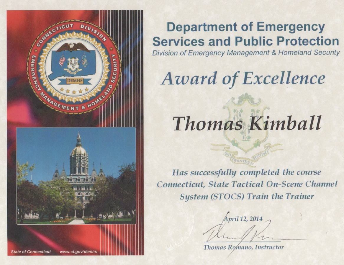 Connecticut, State Tactical On-Scene Channel System (STOCS) Train the Trainer Certificate