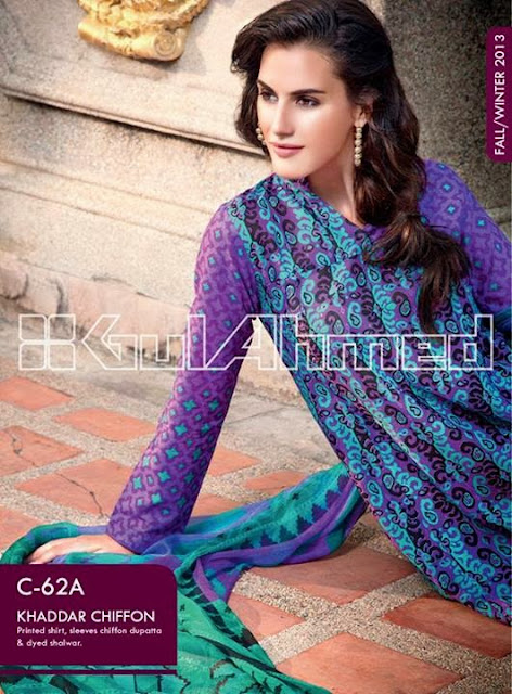 Gul Ahmed Embroidered Khaddar Chiffon Collection 2013