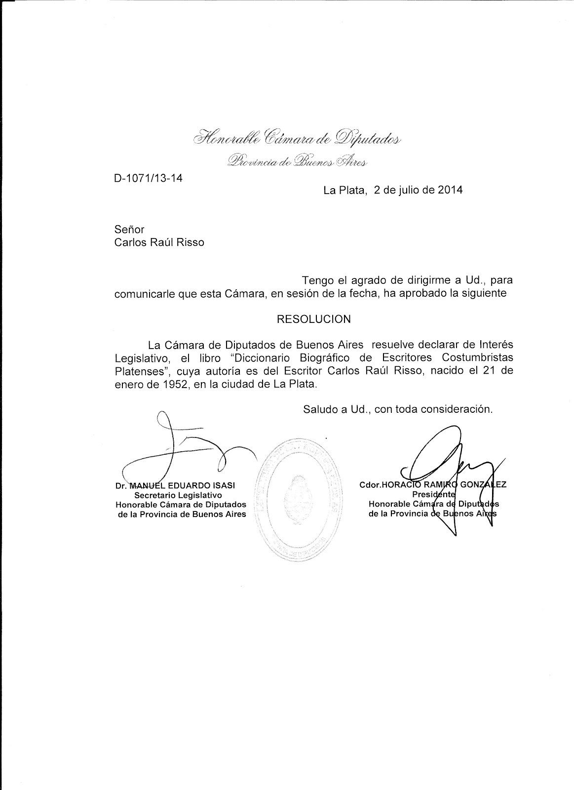 """Declaración de Interés Legislativo Provincial a: """"Dicc. Biográfico Escritores Costumbristas"""""""