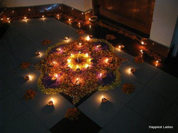 diwali flower rangoli design