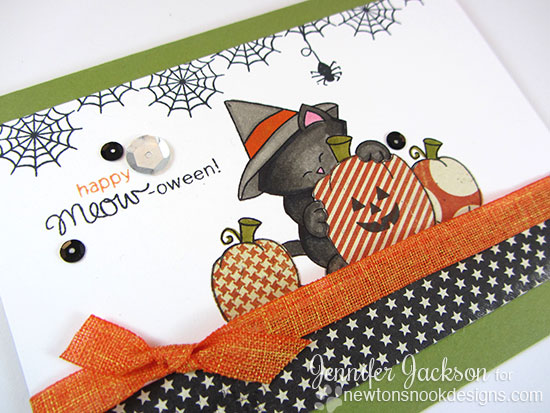 Happy Halloween Cat card by Jennifer Jackson -  Newton's Nook Designs | Newton's Perfect Pumpkin Stamp set