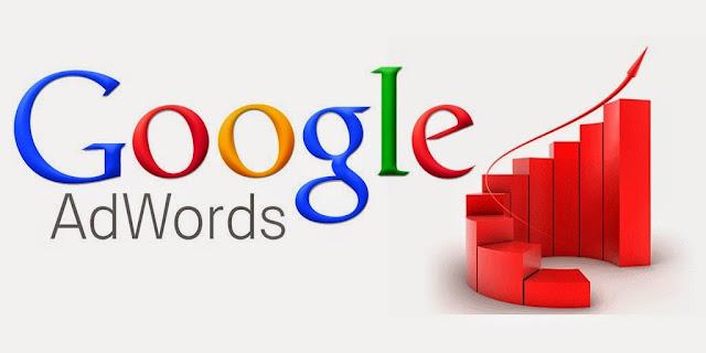 Google AdWords Logo next to a positively rising 3D bar graph.