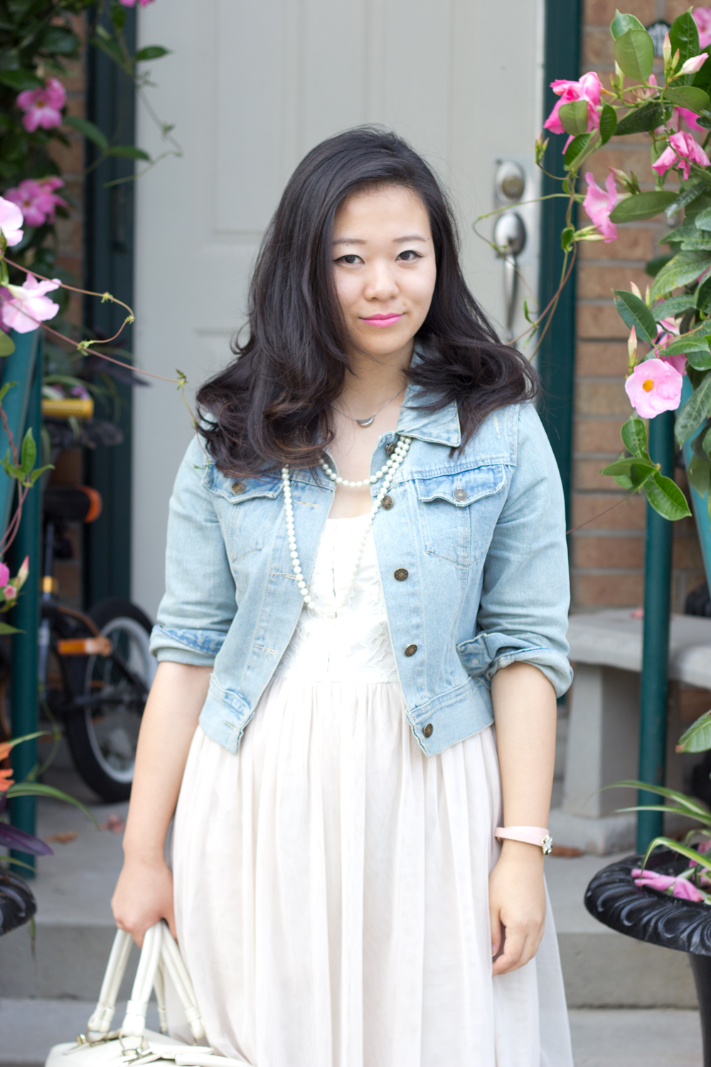 Denim-Jacket, Tulle-Dress, Pearls, Summer-Outfit