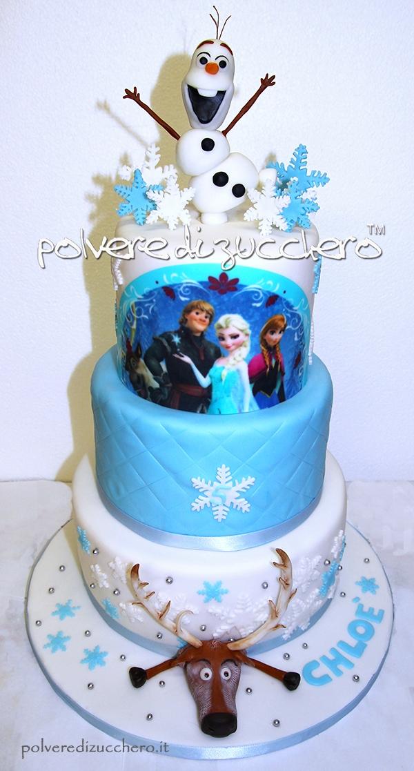 torta decorata a 3 piani frozen disney: con olaf il pupazzo e la renna sven in pasta di zucchero