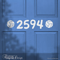 Volleyball Sports Design Custom House Number Vinyl Door Decal