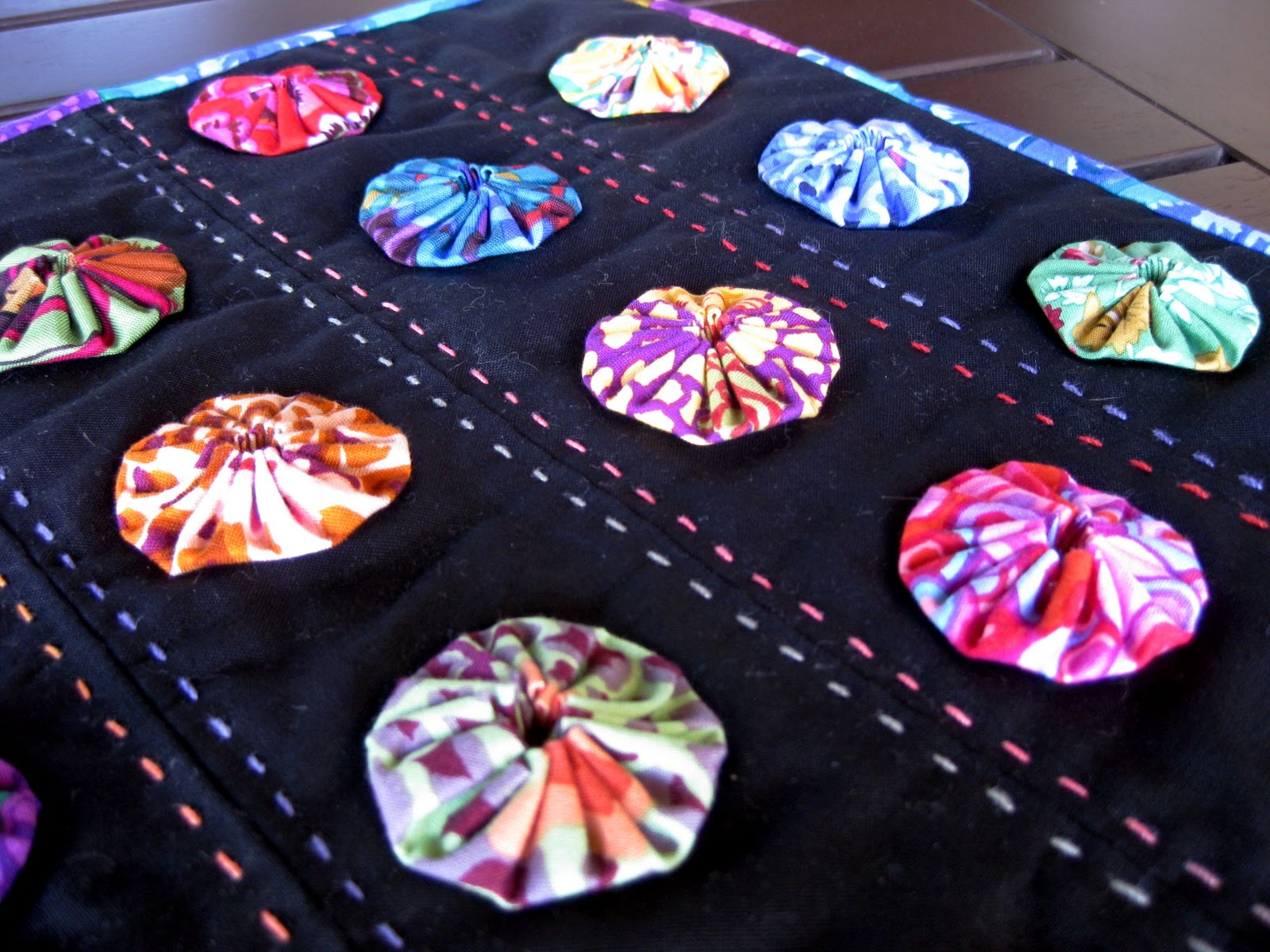 fabric yoyo projects Funky yo-yo scarf by kitchenwench in craft sewing  the basic method for making fabric yo-yos is that your finished circles will end up half the size.