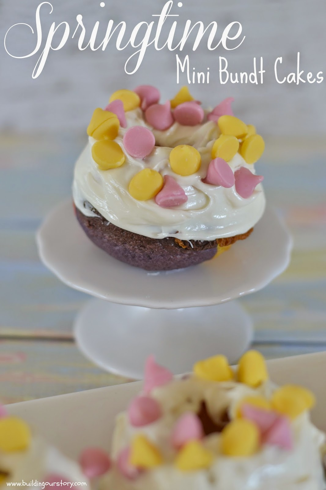 Colorful Mini Bundt Cakes #Recipe.  Easter Brunch Ideas.  Tie Dyed Cakes.  Spring Cakes.  Mini Bundt Pans.  Mini Bundt cakes. Springtime Mini Bundt Cakes #Recipe