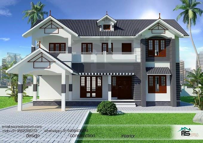 2719 sqft Modern Slop Roof House Design