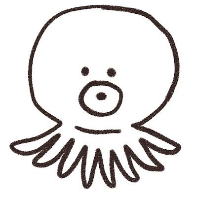 タコのイラスト モノクロ線画