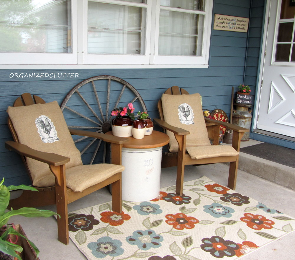 organized clutter decorating a covered patio with vintage