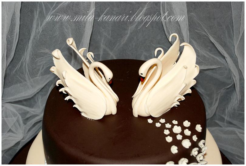 Как сделать лебедей на торт шоколада