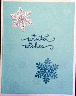 I've had these snowflake embellishments for ages, and finally used them on this set of cards.