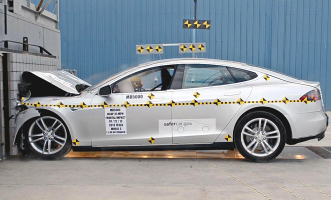 Tesla Model S crash test front impact
