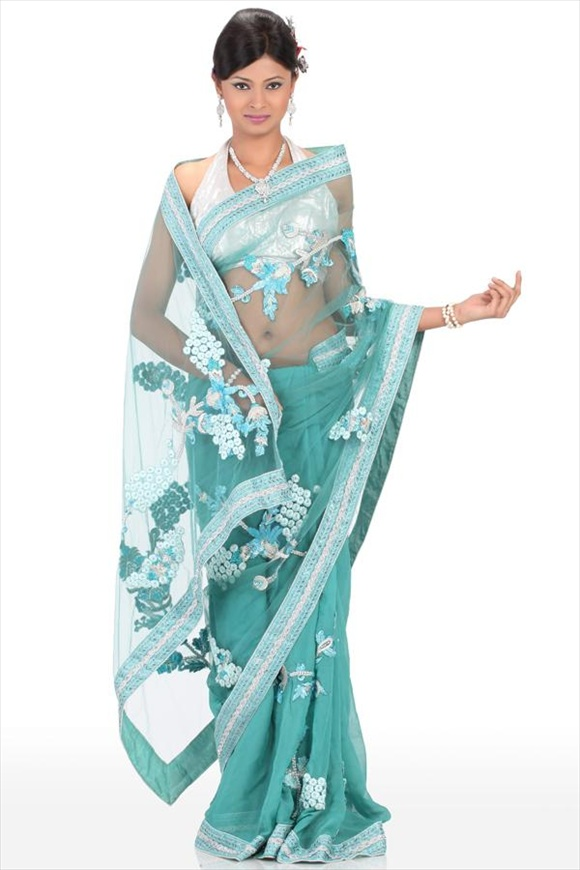 new Pool Blue Net Saree